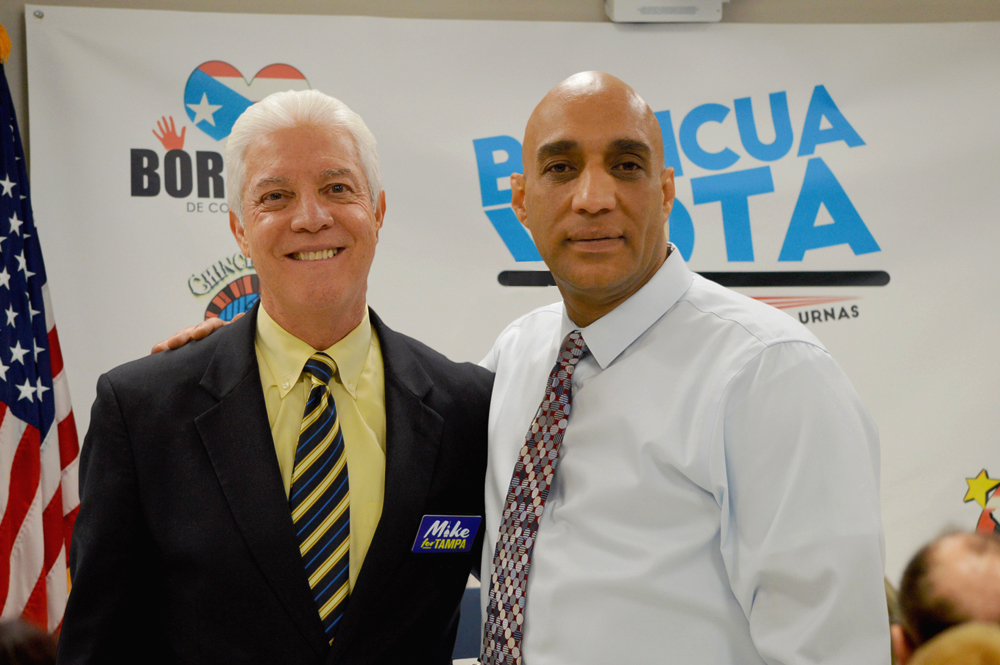 Member of the Residential Habilitation Association conversating with Mike Suarez one of the Mayoral Candidates for the city of Tampa